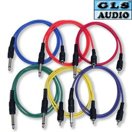6 3ft COLOR 1/4 TS RCA Patch Cable 3' GLS Audio