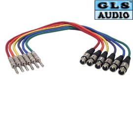 6 3'ft XLR-F 1/4 TRS Patch Snake Cable GLS Audio