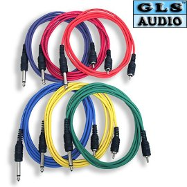 6 6ft COLOR 1/4 TS RCA Patch Cable 6' GLS Audio