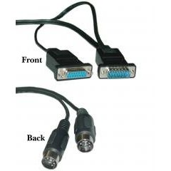 DB15 Male + DB15 Female / DIN5 Male x 2 MIDI Cable, 4 ft