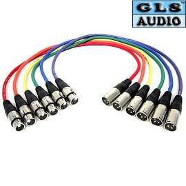 GLS Audio XLR Patch Snake Cable Cord - 6ft Colors - 6 Pack