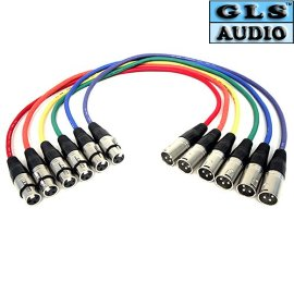 GLS Audio XLR Patch Snake Cable Cord - 2ft Colors - 6 Pack