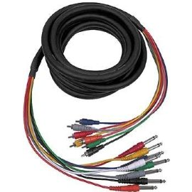 HOSA RCA - 1/4 PHONE, 5m (16.5 ft.) x 8 MULTI-TRACK SNAKE CABLES