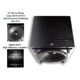 New Acoustic Audio PSW-15 600 Watt Audiophile Series Powered Subwoofer w/15 Inch Down-Firing Sub