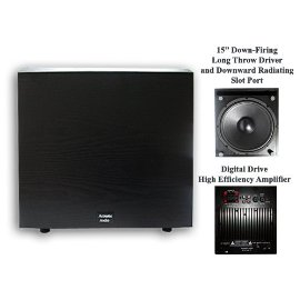 New Acoustic Audio RW-SUB15 600 Watt Home Theater Series Powered Subwoofer w/15 Inch Down-Firing Sub