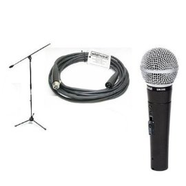 Shure SM58S Classic Mic w/On-off Switch + Samson BL3 Stand + 20' Whirlwind Cable + Unique Squared Vinyl Stickers