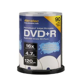Aleratec 300117 16x Duplicator Grade HydroGuard Inkjet Printable DVD+R