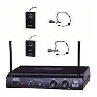 Audio 2000 Awm6032uf UHF Dual-channel Wireless Microphone Systems w/ Two Headset & Two Lavalier