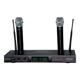 Audio 2000 Awm6122u UHF Dual Channel Rechargeable Wireless Microphone System