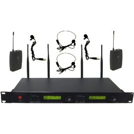 Hisonic 32-Channel UHF True Diversity Wireless Headset & Lapel Microphones, HSU232L