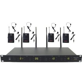 Hisonic 4 X 16-Channel UHF Wireless Headset & Lapel Microphone System, HSU8400L