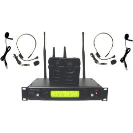 Hisonic 48-Channel Dual UHF Wireless Headset Microphone System, HSU-482L