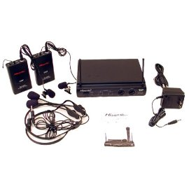 Hisonic Dual UHF Wireless Headset & Lapel Microphone System, HSU302L