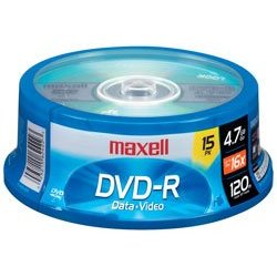 Write Once Single-Sided Recordable 4.7GB DVD+R, 15/Pack