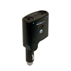 PowerLine 0900-79 12-Volt DC Dual Socket Splitter with USB Charging Port