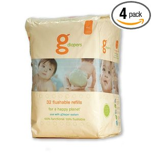 gDiapers Flushable Refills, Medium/Large, 32-Count Bags (Pack of 4)