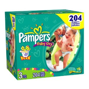 Pampers Baby-Dry Diapers, Size 3 (16-28 Lbs) Economy Plus Pack (incl. 204 Diapers)
