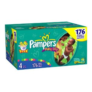 Pampers Baby-Dry Diapers, Size 4 (22-37lbs) Economy Plus Pack (incl. 176 Diapers)
