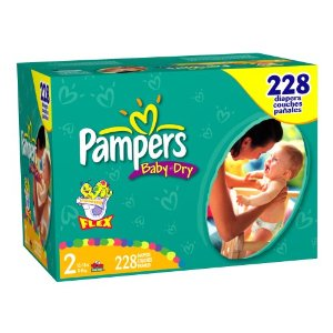 Pampers Baby-Dry Diapers, Size 2 (12-18lbs) Economy Plus Pack (incl. 228 diapers)