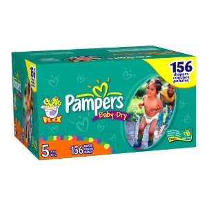 Pampers Baby-Dry Diapers, Size 5 (27lbs+) Economy Plus Pack (incl. 156 Diapers)