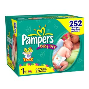 Pampers Baby-Dry Diapers, Size 1 (8-14lbs) Economy Plus Pack (incl. 252 Diapers)