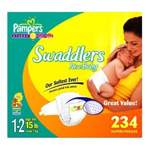 Pampers Swaddlers Diapers, Size 1-2 (up to 15lbs) Economy Plus Pack (incl. 234 Diapers)