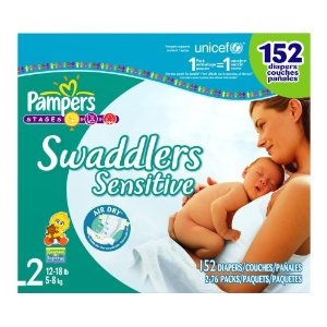 Pampers Swaddlers Sensitive Diapers, Size 2 (12-18 Lbs) Economy Plus Pack (incl. 152 Diapers)