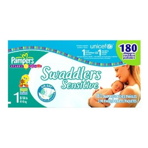 Pampers Swaddlers Sensitive Diapers, Size 1 (8-14lbs) Economy Plus Pack (incl. 180 Diapers)