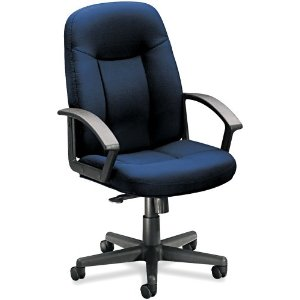 Basyx VL601VA90T VL601 Series Managerial Mid-Back Swivel/Tilt Chair, Navy Fabric/BLK Frame