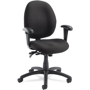 Global 31413BKPB09 Malaga Low-Back Multi-Tilter Swivel Chair, Acrylic/Polyester, Black