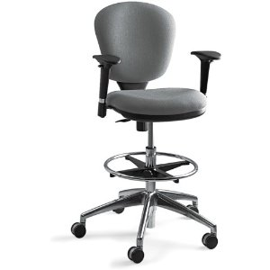 Safco 3442GR Metro Extended Height Swivel/Tilt Chair, 22-33in Seat Height, Gray/Fabric