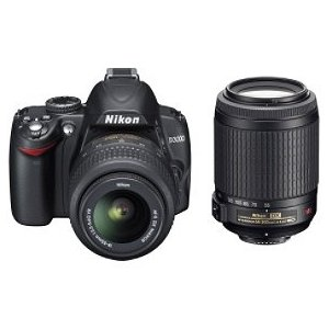 Nikon D3000  DSLR Camera with 18-55mm f/3.5-5.6G and 55-200 AF-S DX VR Nikkor Zoom Lenses