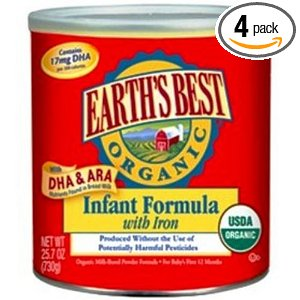 Earth's Best Organic Infant Formula with Iron, DHA & ARA, 25.7 oz. Canisters (Pack of 4, 103 oz total)