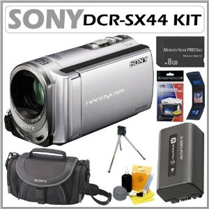 Sony DCRSX44 DCR-SX44 4GB Flash memory Handycam Camcorder with 60x Optical Zoom in Silver + 8GB Deluxe Accessory Kit