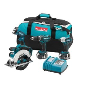 Makita LXT405 LXT 18v Li-Ion 4-Tool Cordless Combo Kit with Drill, Driver, Circular Saw, Flashlight