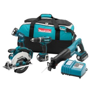 Makita LXT406 LXT 18v Li-Ion Cordless 4-Piece Combo Kit with Drill, Circular Saw, Reciprocating Saw, Flashlight