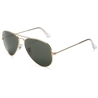 Ray-Ban RB3025 Aviator Large Metal Sunglasses L0205 (Gold Frame, G-15 XLT Lens, 58mm)
