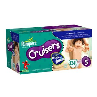 Pampers Cruisers Dry Max Diapers, Economy Plus, Size 5 (27+ Lbs), 124 Diapers
