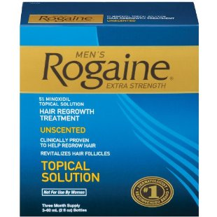 Rogaine Hair Regrowth Treatment, Men's Extra Strength Original Unscented (Set of 3, 2oz Bottles)