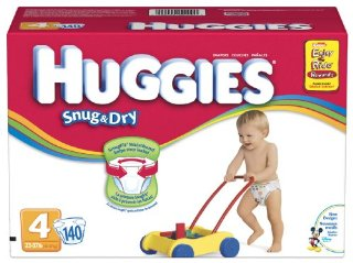 Huggies Snug & Dry Diapers, Size 4 (Mickey & Friends Design, 140-Count)