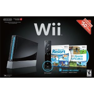 Nintendo Wii Black Bundle with Remote Plus, Nunchuk, Wii Sports, Wii Sports Resort