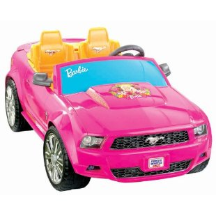 Power wheels barbie ford mustang convertible pink for Motorized barbie convertible car