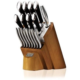 Chicago Cutlery Fusion 18-Piece Knife Set with Honey Maple Wood Block