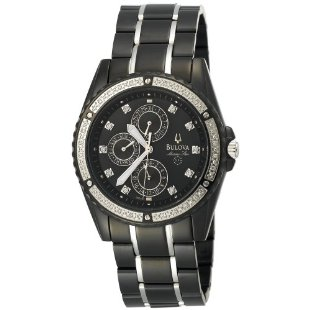 Bulova 98E003 Marine Star Diamond Accented Black Ionic Plated Watch