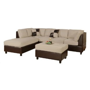 Bobkona Hungtinton Microfiber/Faux Leather 3-Piece Sectional Sofa Set (Mushroom)