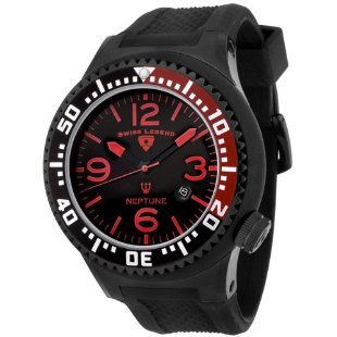 Swiss Legend Neptune Men's Black Ion-Plated Rubber Watch 21818P-BB-01-RB