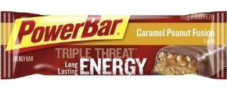 PowerBar Triple Threat Energy Bar, Caramel Peanut Fusion, 55 Gram Bars (Pack of 15)