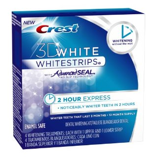 Crest 3D White 2 Hour Express Whitestrips  with Advanced Seal (4-Treatments, 8 Strips Total)