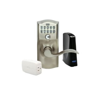 Schlage LiNK Starter Kit with Wireless Z-Wave Keypad Lever Lock (Satin Nickel)