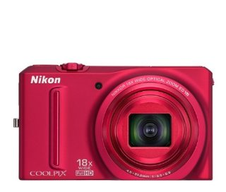 Nikon Coolpix S9100 12.1MP CMOS Digital Camera with 18x Zoom and Full HD Video (Red)